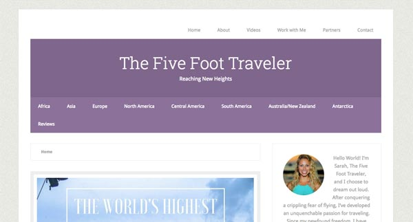 Top 10 Travel Blogs of 2016 - The Five Foot Traveller Sarah Gallo