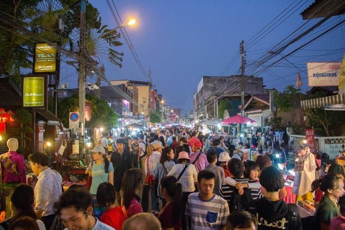 Saturday walking street Chiang Mai people