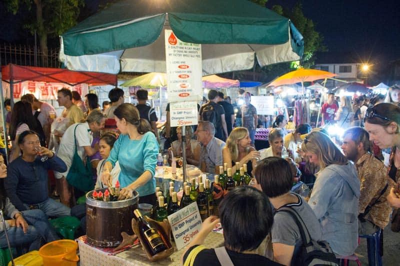 Saturday walking street Chiang Mai wine