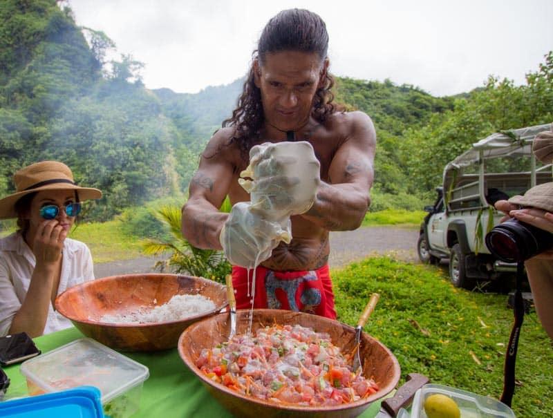 Raw Tuna Salad with Fresh Coconut Milk